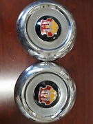 Qty Of 2 Nos 1950195119521953 Oldsmobile Dogdish Hubcaps 9701043