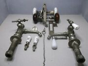 Antique Plated Brass Faucets 1877 And Berks Lock/latch/skeleton Keys Ceramic Knobs