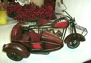 Tin Toy Motorbike With Side Car, 11 3/4long,rubber Tires, Hand Painted