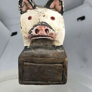 Antique Early American Americana Carved Hand Painted Pig Wood Door Stopper