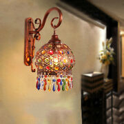 Mediterranean Style Mirror Front Lamp Colour Crystal Wall Lamp Lighting Fixtures