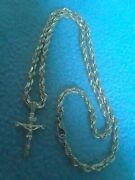 14kt Real Solid Gold Diamond Cut Rope Chain Necklace 18--21 Grams With Cross