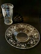 Antique Depression Etched Glass Cordial Juice Glasses And Snack Plates Set Of 7