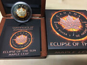 2016 Canada Maple Leaf Eclipse Of The Sun 1oz 24k Rose Gold Gilded Silver .999