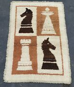 Vintage Chess Men Rug Coimpo Asso. By Tab 4x6 Mcm