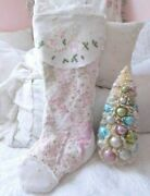 Shabby Vintage Chic Embroidered Angels Pink Quilt Chenille Christmas Stocking 1
