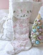 Shabby Vintage Chic Embroidered Angels Pink Quilt Chenille Christmas Stocking 2