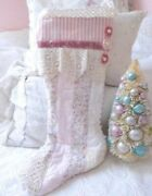 Shabby Vintage Chic Pink Quilt Velvet And Lace Chenille Christmas Stocking
