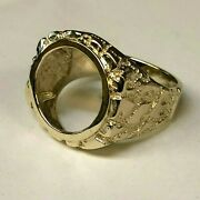 Mdw 14k Yellow Gold Finish Sterling Silver Nugget Menand039s Ring 22 Mm Mounting Only