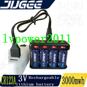 Jugee Cr123a 3v 3000mwh 1000mah Rechargeable Lithium Battery And Charger