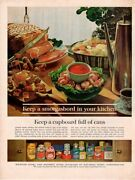 Vintage Advertising Print Food Weirton Steel Keep A Cupboard Full Of Cans 1962