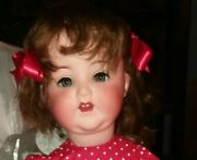 Antique 22-inch Am 996 Baby Doll W/ Org. Mohair Wig In Red Star Dress