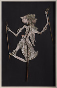 Unknown Artist Thai Shadow Puppet Gouache On Hide With Wooden Sticks Mounted