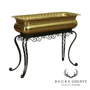 Vintage Italian Hand Crafted Brass Planter On Forged Iron Stand