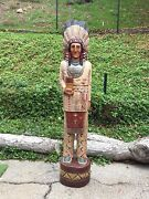 John Gallagher Carved Wooden Cigar Store Indian 6 Ft. Statue Buffalo Knife