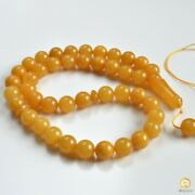 Baltic Amber Tespih Butterscotch Egg Yolk Color Misbaha 44 Beads 14 Mm 70.80 G