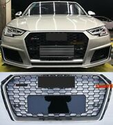 For Audi A4/s4 B9 Rs4 Style Honeycomb Black Mesh Hex Grille Chrome Rim 2017-2018