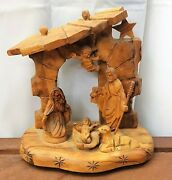 Olive Wood Nativity Set Creche Nativity Scene Blessed In Holy Sepulchre Church