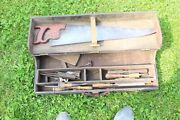 Antique Wooden Carpenty Tool Box With Tools- Back Wall