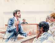 Marshall Goodman 10 - Lawyer Gesturing To Jury Watercolor On Paper Signed