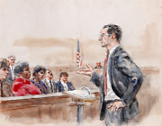 Marshall Goodman 12 - Eight Figures Juror In Red Watercolor On Paper