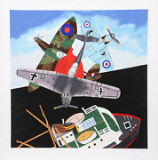 Malcolm Morley Battle Of Britain Screenprint Signed And Numbered In Pencil