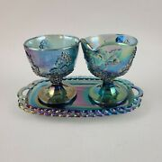 Indiana Blue Iridescent Carnival Glass Harvest Grape Creamer Sugar Bowl And Tray