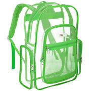 Mggear 17-inch Clear Security Backpack With Florescent Green Trim, Pvc Book Bag