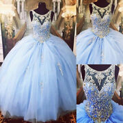 Sky Blue Crystal Beaded Scoop Neck Tulle Ball Gowns Quinceanera Dresses Sweet 15