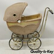 Antique American Victorian Wicker Metal Rolling Baby Carriage Buggy Stroller