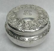 Vintage And Co 1896 Sterling Silver Repousse Powder Jar And Puff