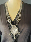 Antique Tribal Old Silver Necklace Amulet Heart Pendant From Rajasthan 1930s