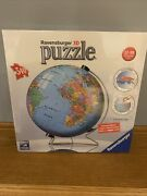 New Ravensburger 3d Puzzle Ball World Globe 540 Pieces Display Stand Inc. Sealed