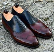 Handmade Menand039s Genuine Two Tone Leather Oxford Lace Up Wingtip Dress Shoes Us519