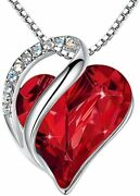 Leafael Infinity Love Heart Pendant Necklace Birthstone Crystal Jewelry Gifts...