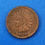 1881 Indian Head One Cent Penny Type 3 Bronze Better Key Philadelphia Coin