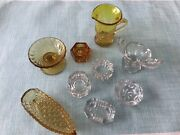 Lot Of 9 Vintage Clear And Amber Glass Salt Cellars Dips Pitcher Canoe