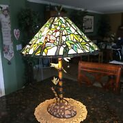 Style Stained Glass Lamp Parrot And Bamboo Tropical Light/lamp