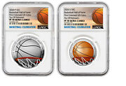 2020 P And S Basketball Hof Colorized Proof 2 Coin Set Ngc Pf70 Uc Tip Off Release