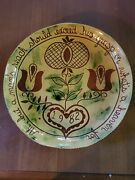 Breininger Redware Pottery 10 Charger Plate - Pa Dutch Tulips Signed 1982