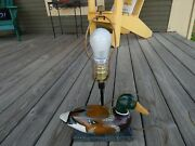Vintage Carved Duck Decoy Table Electric Lamp Marble Base.