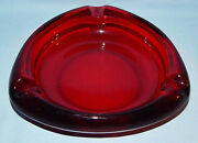 Very Cool Mid-century Modern Ruby Red Large 8 Ashtray J