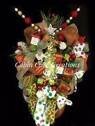 Festive Christmas Tree Door Wreath With Fairy Lights Red Lime Green Lux Design