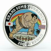 Tuvalu 1 Dollar Grand Sumo Tournament Hawaii Colored Proof Silver Coin 2007