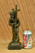 Jesus Christ Passion Carrying Bearing Cross Signed 100 Bronze Sculpture Statue