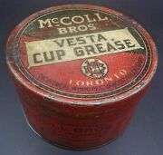 Ultra Rare 1920and039s Vintage Mccoll Bros Vesta Cup Grease Can Red Indian Oil