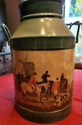 Small Painted Milk Can Horses Hunt Scene 14 Tall