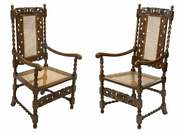 Antique Chairs English Barley Twist Figural Carved Oak Caned Seat Set Of Two