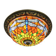 Antique Style Stained Glass Dragonfly Flush Mount Ceiling Light Fixture