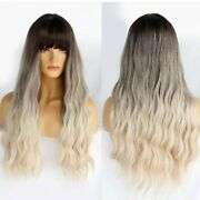 Miley Cirus Ombre Ash Blonde Wavy Wig With Bangs, Heat Resistant/ Human Hair Bl